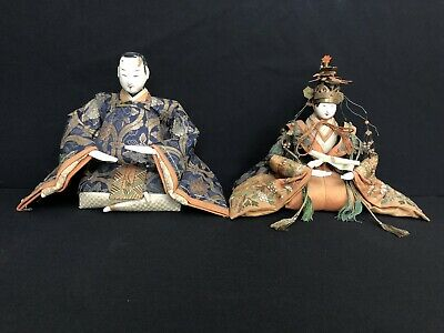 Pair Of Japanses Edo Period Emperor And Empress Dolls