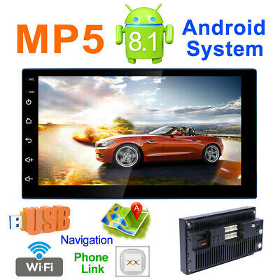 """Android 8.1 Car Stereo Player GPS Navigation 7"""" 2 Din Radio WiFi BT FM Unit MP5"""