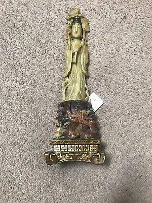 """Vintage Carved Soapstone Statue/Lamp of Quan Yin - Guanyin Figurine - 17"""" Tall"""