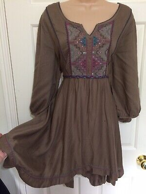 Gorgeous Evans Taupe Brown Boho Long Tunic Top Tie Waist 22 Embroidered Detail