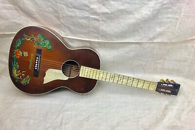 "Vintage 1930's B&J The Serenader ""The Vagabond"" Acoustic Parlor Guitar Pearloid"