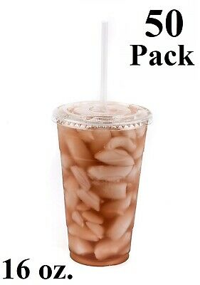 50 Pack 16 oz. Disposable Clear PET Plastic Cups w/ Flat Lids and Clear Straws