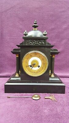 Vintage Antique Samuel S Marti Slate Marble Mantel Clock Working See Video c1900