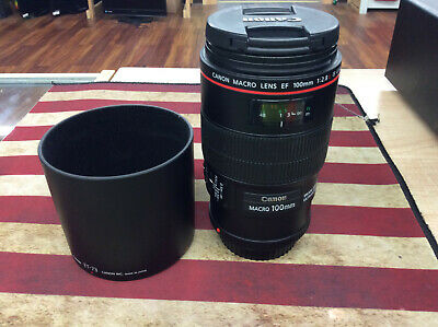 Canon Macro Lens EF 100 mm 1:2.8 L IS USM Lens excellent condition w/lens hood