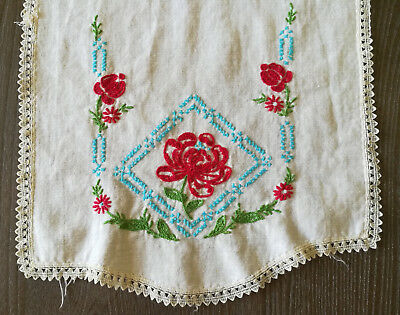 Vintage Table Runner Dresser Scarf Doily Red Embroidered Roses Blue Accent