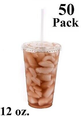 50 Pack 12 oz. Disposable Clear PET Plastic Cups w/ Flat Lids and Clear Straws