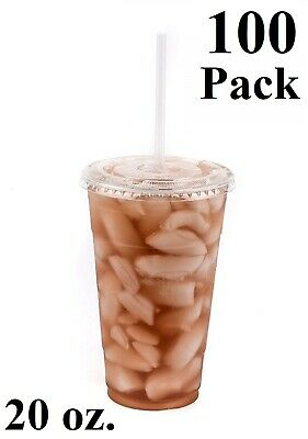 100 Pack 20 oz. Disposable Clear PET Plastic Cups w/ Flat Lids and Clear Straws