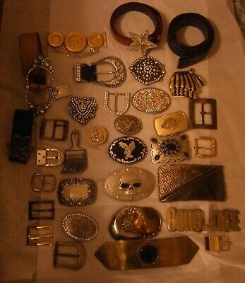 30+ Vintage-now Belt Buckle Lot and Belts Brass Rhinestones Bergamot Brush