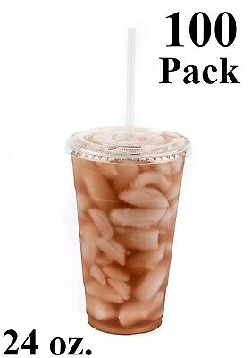 100 Pack 24 oz. Disposable Clear PET Plastic Cups w/ Flat Lids and Clear Straws