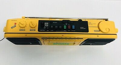 Sony Sports CFS-950 Boombox Cassette-Corder Player AM/FM Yellow - Tested