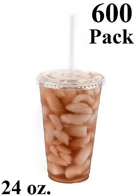 600 Pack 24 oz. Disposable Clear PET Plastic Cups w/ Flat Lids and Clear Straws