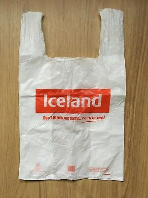25x white plastic reusable CARRIER BAGS supermarket food shopping Iceland bulk