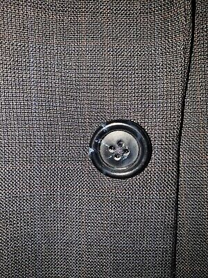 Jos A Bank Mens Size 40R 35X30 100% Wool Plaid/Check 2 Btn Gray 2 Piece Suit GUC