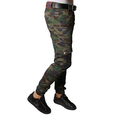 Mens  Skinny Camouflage Stretch Slim Fit Ripped Denim Pants Trouser