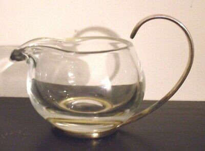 Ercuis France Thick Glass Silver Plate Marking Creamer