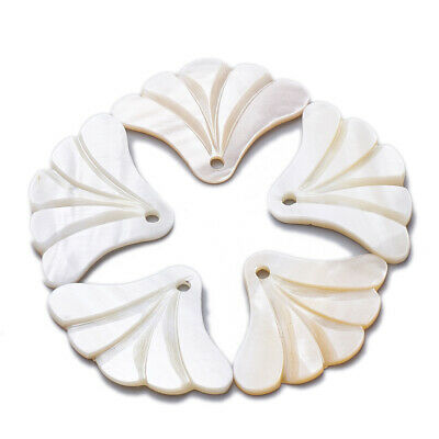 50pc Freshwater Shell Pendant Charm Sector Seashell Jewelry Finding Making Chain