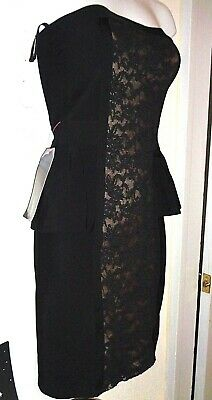 Bebe S lace little black dress strapless stretchy sexy flattering cut