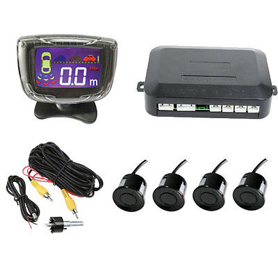 Car Auto Rear View Reverse Backup Parking Radar System 4 Sensors LCD Display Kit