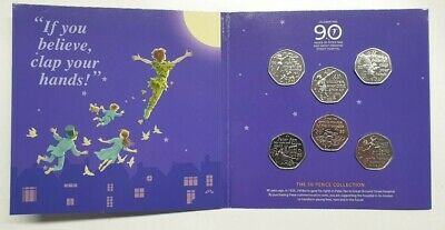 2019 PETER PAN 50p 6 COIN COMPLETE SET 90th ANNIVERSARY PACKAGING IOM/02
