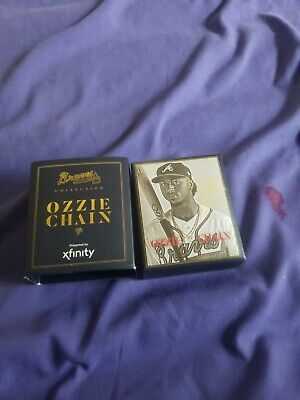 Atlanta Braves Ozzie Albies Replica Chain Necklace and program from game