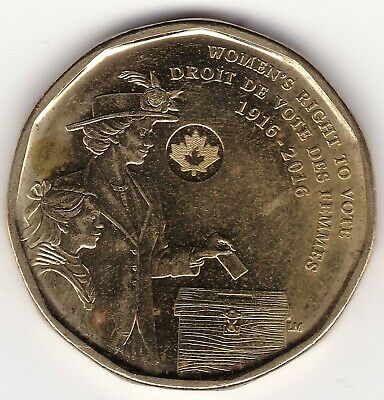 AU 1916 - 2016 Women's Right To Vote Commemorative Canada 1 dollar coin - loonie