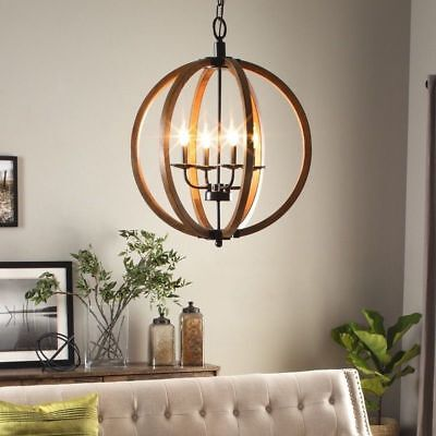 Farmhouse Lighting Rustic Chandelier Vineyard French Country Cabin Shabby Chic