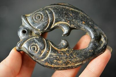 Chinese Hongshan Culture Magnet Jade Stone Carved *fish* Pendant   H98