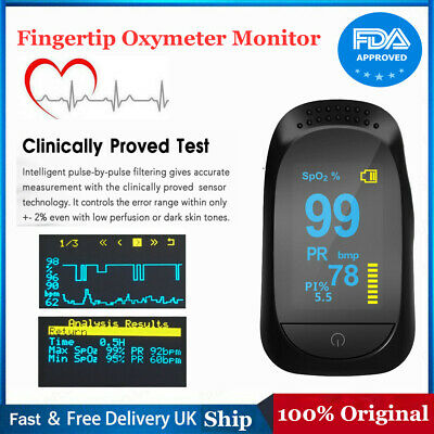 OLED Finger Fingertip Pulse Oximeter Blood Oxygen Saturation Monitor SPO2 PR FDA