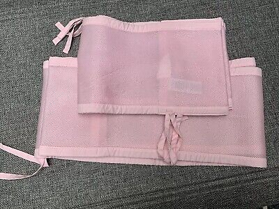 Breathable Portable Crib Bumper Pink, Mesh Liner for Cradle, Baby Mini Crib Pads