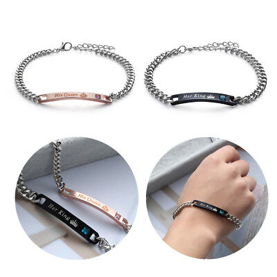 """Fashion His And Her """"Her King"""" """"His Queen"""" Alloy Couple Lover Crystal Bracelet"""