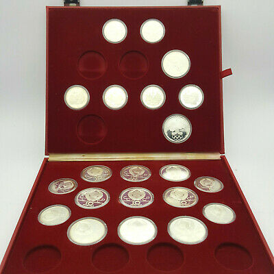 Russia Moscow 1980 Olympics 21 Silver Coin Set Box Proof Incomplete Set