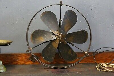 "Antique GE General Electric 6 Brass Blade Fan 16"" ceiling industrial vintage old"