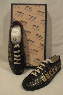 5b1563e3b NIB AUTH GUCCI men BLACK Leather SNEAKERS shoes GUCCY Lace up size IT 9 10  US