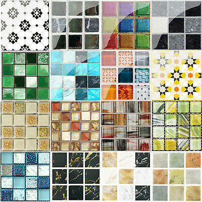 19/20pcs Mosaic Self-adhesive Bathroom Kitchen Decor Home Wall 3D Tile Sticker