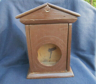ANTIQUE PRIMITIVE OLD HAND PAINTED WOODEN WALL HANGING CLOCK BOX CASE 19th