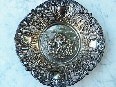 Victorian Silver-plated Reticulated CANDY DISH Repousse ANGELS & ROSES Bowl