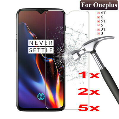 5Pcs 9H Clear  Tempered Glass Screen Protector For OnePlus 2 3 3T 5 6 6T 7 1+