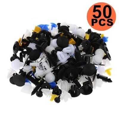 50pcs Auto Car Plastic Rivet Fasteners Push Pin Bumper Fender Panel Clips Kit En