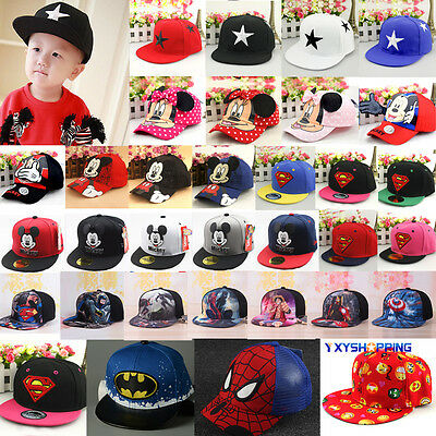 Kids Girls Boys Casual Hip Hop Baseball Hat Cartoon Snapback Adjustable Cap AU