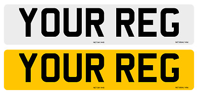 Pair of High Quality Standard Number Plates, MOT/Road Legal White Yellow