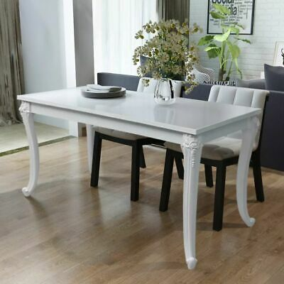 Chic Home Indoor Dining Table High Gloss White Kitchen Table 116x66x76cm
