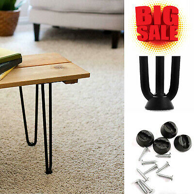 4 x Heavy Duty Hairpin Table Legs – Superior Double In Steel With Free Screws UK