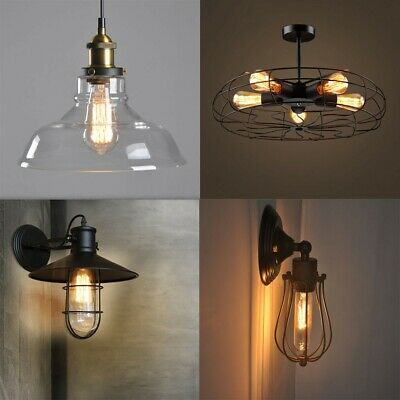 Vintage Industrial Loft Style Hanging Pendant Light Ceiling Glass Lamp Shade
