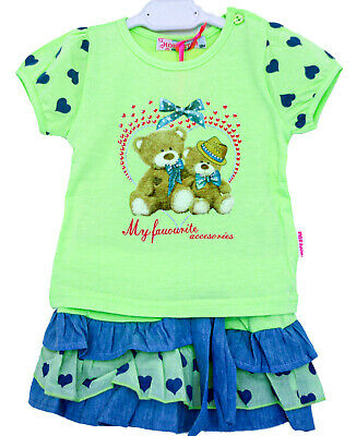 Completo Neonata Bambina Estate T-Shirt + Gonna Balze Jeans Tg.12/36 Mesi