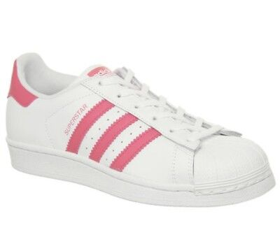 FEMMES ADIDAS SUPERSTAR GS Chaussures Blanches Rose Transparent Baskets
