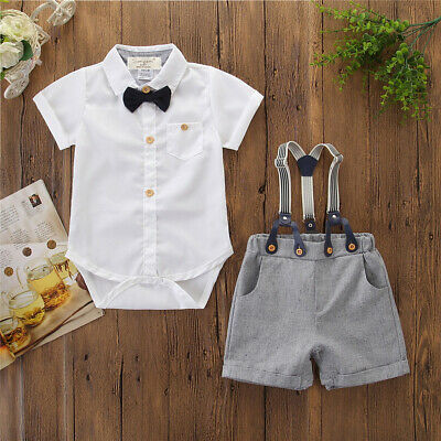 US Toddler Infant Baby Boy Gentleman Clothes Shirt Top Pants Shorts Outfit Set