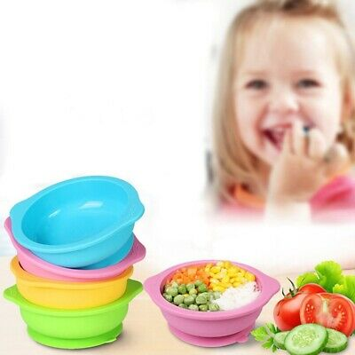 UK Baby Silicone Bowl Dish Suction Table Food  Placemat Plate Feeding Popular