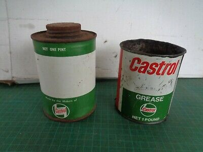 Vintage garagenalia CASTROL oil and grease tins x2,  1 pint, 1lb