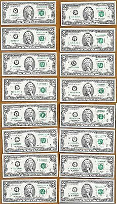 8 Pairs Consecutive Serial #s UNC $2 Pres Thomas Jefferson Two Dollar Bills FRN