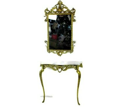 Ornate Demi Lune Console Marble Top Brass Ornate Mirror Hollywood Regency Spain